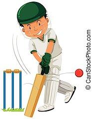 Man player playing cricket