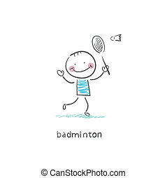 Man playing badminton. Illustration.