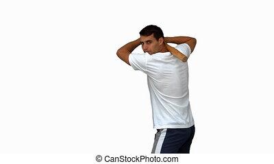 Man playing baseball on white scree