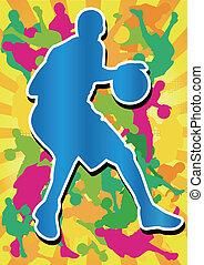 man playing basketball and colorful