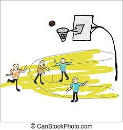 man playing basketball illustration