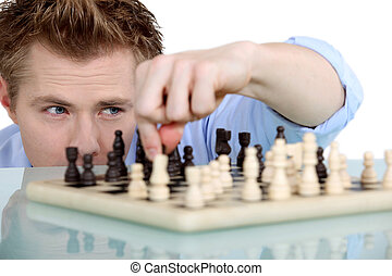 Man playing chess alone