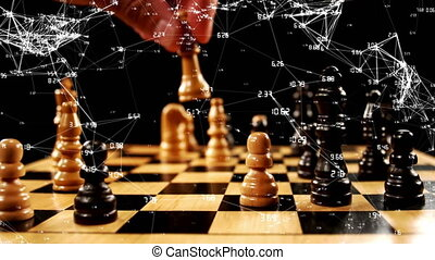 Man playing chess and asymmetrical lines
