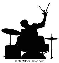 man playing drumms silhouette in black color illustration