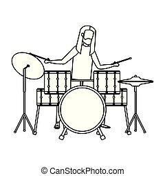 man playing drums battery