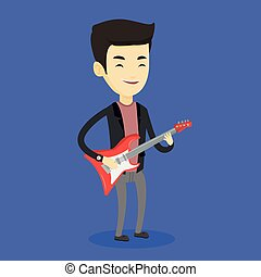 Man playing electric guitar vector illustration.
