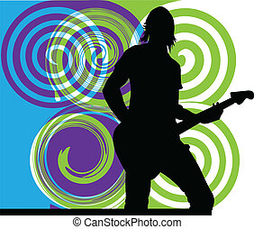 Man playing electrical guitar. vector illustration