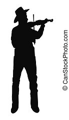man playing his fiddle in silhouette over white