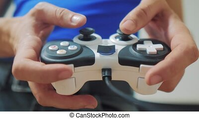 man playing gamepad hands lifestyle video console on tv....