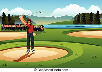 A vector illustration of man playing golf in the competition for sport competition series