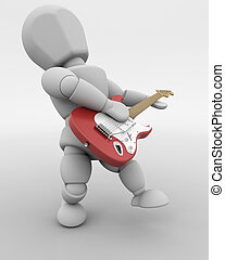 man playing guitar - 3D render of a man playing a guitar