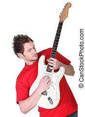 Man playing guitar isolated on white background
