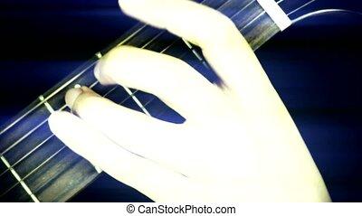 man playing guitar, strum.