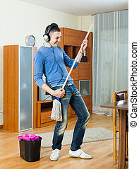 man playing   in room