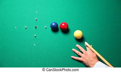 man playing italian pool game. 30p