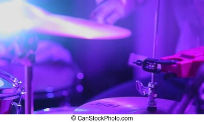 Man playing music on drums