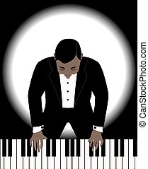 man playing on a piano