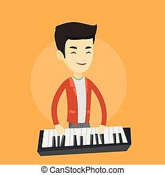 Man playing piano vector illustration.