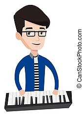 Man playing piano vector illustration. - Young smiling...