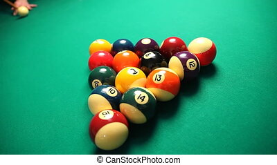 man playing pool game. High angle view. 30fps