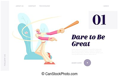 Man Playing Professional Baseball, Batter Hitting Ball at Competition Game on Stadium, Male Player with Bat Sport Character. Website Landing Page, Web Page. Cartoon Flat Vector Illustration, Banner
