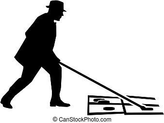 Man playing shuffleboard