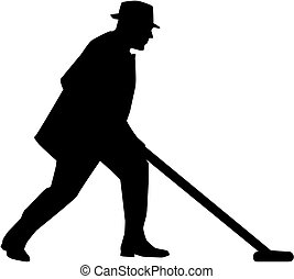 Man playing shuffleboard silhouette