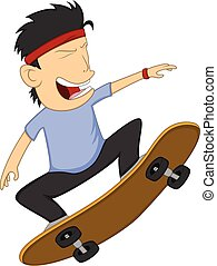 Man playing skateboard cartoon