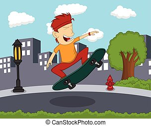Man playing skateboard on the street cartoon