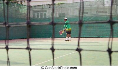 Man playing tennis, game, sports
