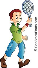Young Man Playing Tennis, vector illustration
