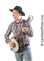 man playing the banjo