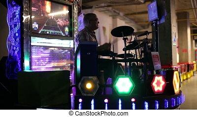 Man playing the drum set