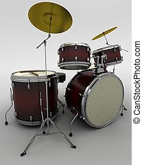 man playing the drums - 3d render of a concert drum kit
