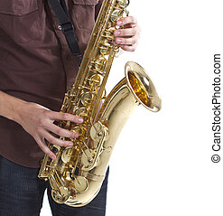 Man playing the saxophone over white background