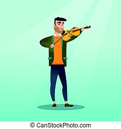 Man playing the violin vector illustration.