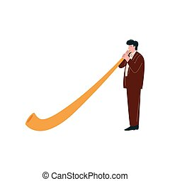 Man Playing Traditional Alpine Horn, Musician Playing Woodwind Instrument Vector Illustration on White Background.