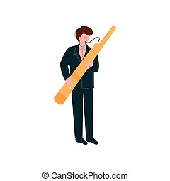 Man Playing Traditional Bassoon, Musician Playing Woodwind Instrument Vector Illustration on White Background.