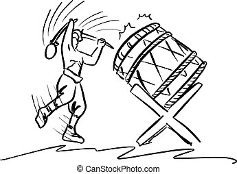 man playing traditional drum vector illustration sketch hand drawn with black lines isolated on white background
