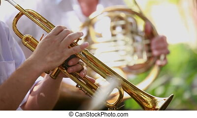 Man playing trumpet - Man of the orchestra playing the...