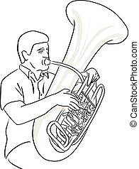 man playing Tuba vector illustration sketch doodle hand drawn with black lines isolated on white background