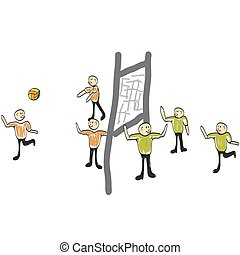 man playing volleyball illustration