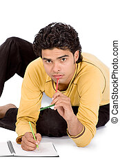 Man playing with colorful pencil
