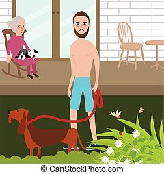Man playing with dog shirt while old woman sitting in rock chair behind
