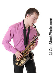 man plays a saxophone, isolated on white