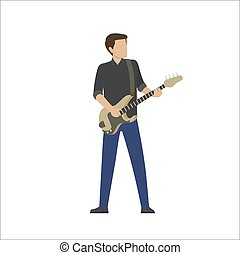 Man Plays in Musical Group on Bass Guitar, Vector