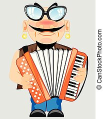 Man plays on accordeon