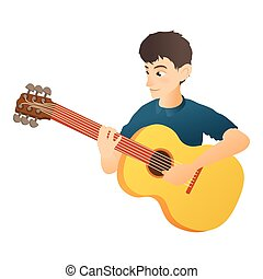 Man plays on guitar icon, flat style