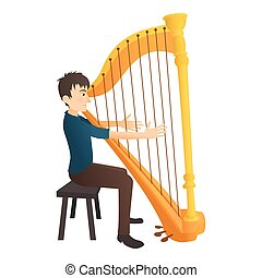 Man plays on harp icon, flat style