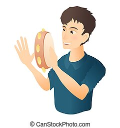 Man plays on tambourine icon, flat style